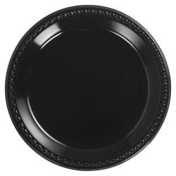 "Chinet® Heavyweight Round Plastic Plates, 10 1/4"", Black, 125 Plates Per Pack, Carton Of 4 Packs"