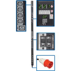 "Tripp Lite PDU 3-Phase Switched 220V/230V 22.1kW C13 C19 IEC309 32A Red 0U - 24 x IEC 60320 C13, 6 x IEC 60320 C19 - 22.10 kVA - 0U Vertical Rackmount"""
