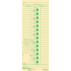 "Office Depot® Brand Time Cards With Deductions, Weekly, Days 1–7, 1-Sided, 3 3/8"" x 8 7/8"", Manila, Pack Of 100"