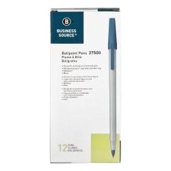 Business Source Medium Point Ballpoint Stick Pens - Medium Pen Point - Blue - Light Gray Barrel - Stainless Steel Tip - 12 / Dozen