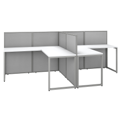 """Bush Business Furniture Easy Office 60""""W 2-Person L-Shaped Cubicle Desk Workstation With 45""""H Panels, Pure White/Silver Gray, Premium Installation"""