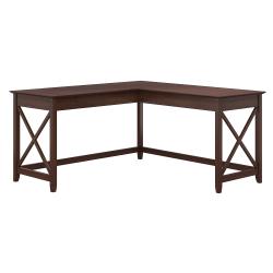 "Bush Furniture Key West 60""W L-Shaped Desk, Bing Cherry, Standard Delivery"
