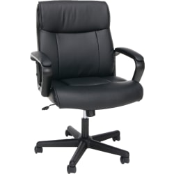 OFM Essentials Bonded Leather Mid-Back Chair With Arms, Black/Silver
