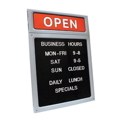 "Cosco® Upscale ""Open/Closed"" Letterboard Sign, 20""H x 15""W, Black/Red/White"