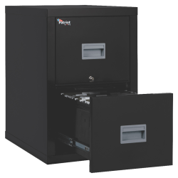 "FireKing® Patriot 25""D Vertical 2-Drawer File Cabinet, Metal, Black, Dock-to-Dock Delivery"
