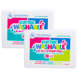 """Center Enterprise Washable 4-In-1 Stamp Pads, 3"""" x 1 1/2"""", Electric, Pack Of 2"""