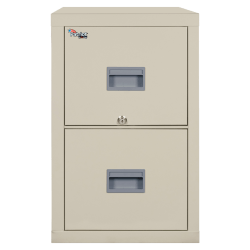 "FireKing® Patriot 25""D Vertical 2-Drawer File Cabinet, Metal, Parchment, Dock To Dock Delivery"