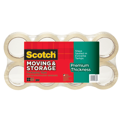 "Scotch® Premium Thickness Moving & Storage Tape, 3"" Core, 1 7/8"" x 60 Yd., Clear, Pack Of 8"