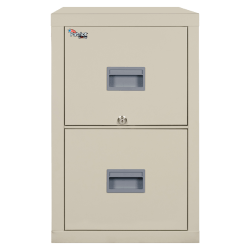"""FireKing® Patriot 31-5/8""""D Vertical 2-Drawer Letter-Size File Cabinet, Metal, Parchment, Dock To Dock Delivery"""