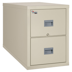 """FireKing® Patriot 31-5/8""""D Vertical 2-Drawer Legal-Size File Cabinet, Metal, Parchment, Dock To Dock Delivery"""