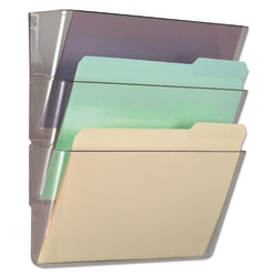 """Universal® 3-Pocket Expandable Wall File Starter Set, Letter Size, 14""""H x 13""""W x 4""""D, Clear"""