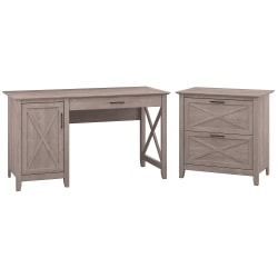 """Bush Furniture Key West 54""""W Computer Desk With Storage And 2 Drawer Lateral File Cabinet, Washed Gray, Standard Delivery"""