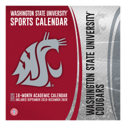 """Turner Licensing NCAA 16-Month Academic Wall Calendar, 12"""" x 12"""", Washington State Cougars, September 2019 To December 2020, 20998011828"""