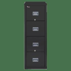 """FireKing® Patriot 31-5/8""""D Vertical 4-Drawer Letter-Size File Cabinet, Metal, Black, Dock-to-Dock Delivery"""