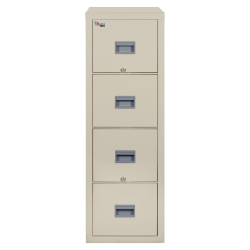 "FireKing® Patriot 31-5/8""D Vertical 4-Drawer Letter-Size File Cabinet, Metal, Parchment, Dock To Dock Delivery"