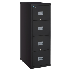 "FireKing® Patriot 31-5/8""D Vertical 4-Drawer Legal-Size File Cabinet, Metal, Black, Dock-to-Dock Delivery"