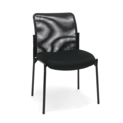 "OFM Essentials Padded Fabric Seat, Mesh Back Stacking Chair, 19"" Seat Width, Black Seat/Black Frame, Quantity: 1"