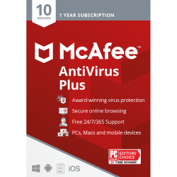 McAfee® AntiVirus Plus, For PC or Mac®, 10 Devices, 1 Year Subscription, Download