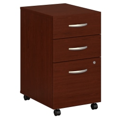 Bush Business Furniture Components 3 Drawer Mobile File Cabinet, Mahogany, Standard Delivery