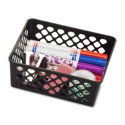OIC Plastic Supply Baskets, Medium, 30% Recycled, Black, Pack of 3