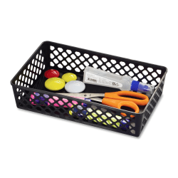 OIC® Plastic Supply Baskets, Large Size, 30% Recycled, Black, Pack Of 2
