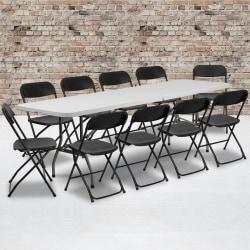 "Flash Furniture Bi-Fold Plastic Event/Training Folding Table Set With 10 Folding Chairs, 29""H x 30""W x 96""D, Black"