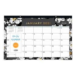 "Blue Sky™ Monthly Desk Pad Calendar, 11"" x 17"", Baccara Dark, January To December 2021, 116050"