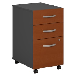 Bush Business Furniture Components 3 Drawer Mobile File Cabinet, Auburn Maple/Graphite Gray, Standard Delivery