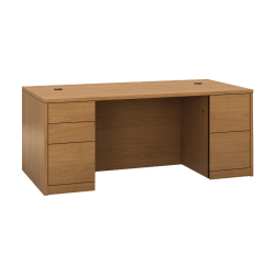 """HON 10500 H105890 Pedestal Desk - 72"""" x 36"""" x 29.5"""" x 1.1"""" - 5 - Double Pedestal - Material: Wood - Finish: Harvest, Laminate"""