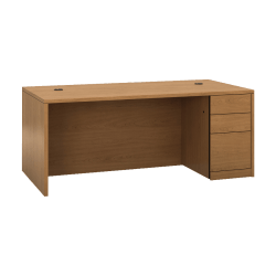 "HON 10500 H105895R Pedestal Desk - 3-Drawer - 72"" x 36"" x 29.5"" x 1.1"" - 3 - Single Pedestal on Right Side - Material: Wood - Finish: Harvest, Laminate"