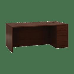 "HON® 10500 Series 72"" W Right Pedestal Desk, Mahogany"