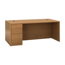 "HON 10500 H105896L Pedestal Desk - 3-Drawer - 72"" x 36"" x 29.5"" x 1.1"" - 3 - Single Pedestal on Left Side - Material: Wood - Finish: Harvest, Laminate"