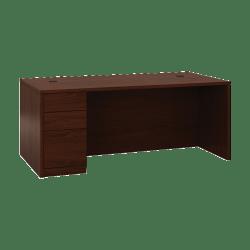 """HON® 10500 Series 72"""" W Left Pedestal Desk, Mahogany"""