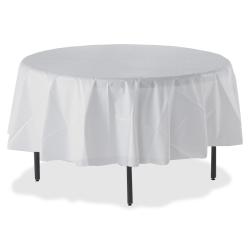 "Genuine Joe Plastic Round Tablecovers - 84"" Diameter - Plastic - White - 24 / Carton"