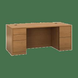"HON 10500 H105899 Pedestal Desk - 5-Drawer - 72"" x 36"" x 29.5"" x 1.1"" - 5 - Double Pedestal - Material: Wood - Finish: Harvest, Laminate"
