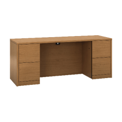 """HON 10500 H105900 Kneespace Credenza - 2-Drawer - 72"""" x 24"""" x 29.5"""" x 1.1"""" - 2 - Material: Wood - Finish: Harvest, Laminate"""