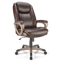 Realspace® Tresswell Executive Bonded Leather High-Back Chair, Brown/Champagne