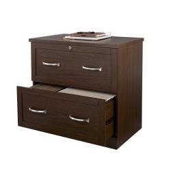 "Realspace® Premium 30""W Lateral 2-Drawer File Cabinet, Mocha"