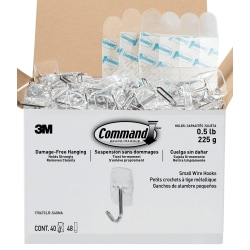 """Command™ Small Wire Hooks, 1-5/8""""H x 7/8""""W x 3/4""""D, Clear, Pack Of 40 Hooks"""