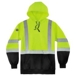 Ergodyne GloWear 8373 Class 3 Hi-Vis Pullover Hoodie, XX-Large, Black/Lime