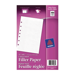 """Avery® 7-Hole Punched Mini Binder Filler Paper, 5 1/2"""" x 8 1/2"""", College Ruled, Pack Of 100 Sheets"""