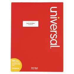 "Universal® Permanent Labels, UNV80120, 1"" x 2 5/8"", White, Box Of 7,500"