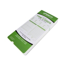 "uPunch All Pay Periods Time Cards, 2-Sided, 3.5"" x 7.5"", Green, Pack Of 50, HNTCG1050"
