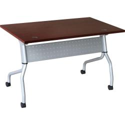 "Lorell® Flip Top Training Table, 48""W, Mahogany/Silver"