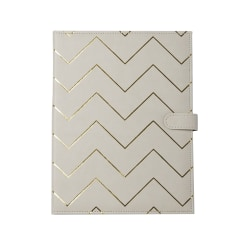 """Markings by C.R. Gibson® Chevron Leatherette Padfolio, 12 3/8"""" x 9 1/2"""", Beige/Gold"""