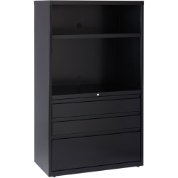 """Lorell® Smart Storage 36""""W Lateral 3-Drawer Combo File Cabinet, Metal, Black"""