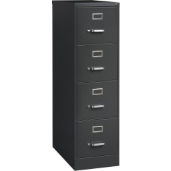 "Lorell® Fortress 26-1/2""D Vertical 4-Drawer File Cabinet, Metal, Charcoal"