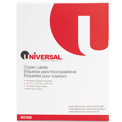 "Universal® Copier Labels, UNV90108, Shipping, 8 1/2"" x 11"", Bright White, Box Of 100"