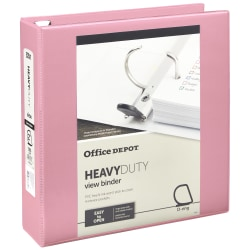"""[IN]PLACE® Heavy-Duty D-Ring View Binder, 2"""" Rings, Light Pink"""