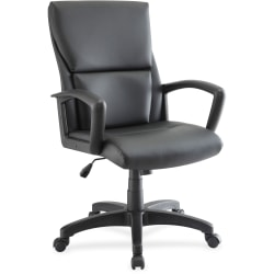 Lorell® European Bonded Leather Mid-Back Executive Chair, Black